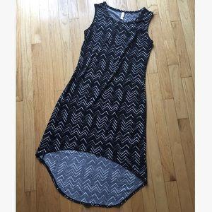 Black patterned high-low dress